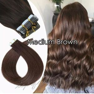 """Tape In Glue 100% Human Remy Hair Extensions 18"""""""